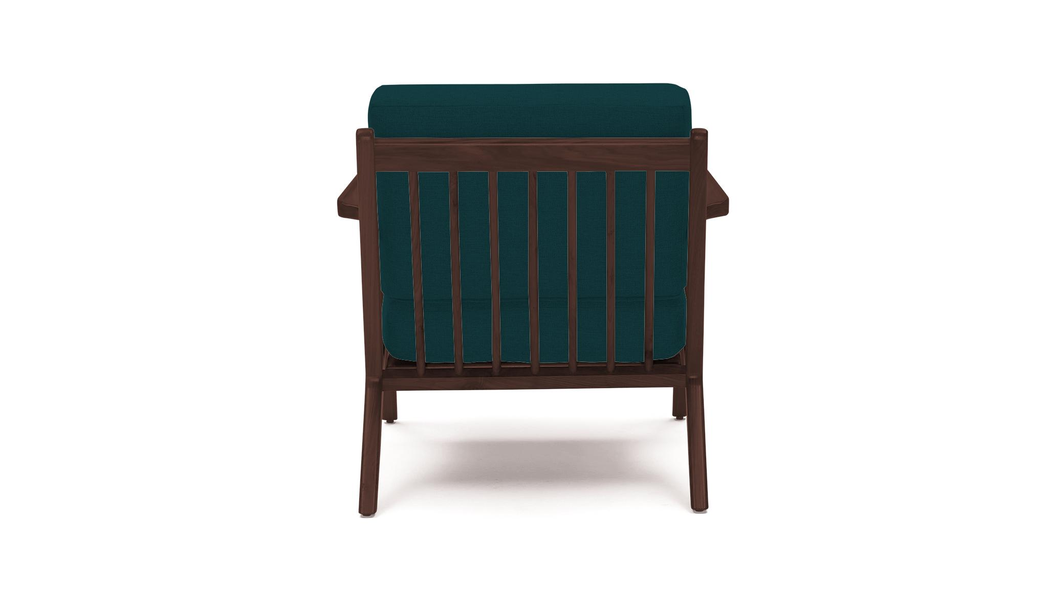 Blue Soto Mid Century Modern Concave Arm Chair - Royale Peacock  - Walnut