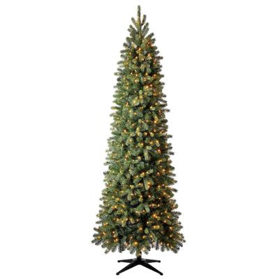 Home Accents Holiday 9 ft Manchester White Spruce Pre-Lit LED Slim Artificial Christmas Tree with 500 SureBright Color-Changing Lights