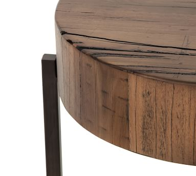 Fargo Reclaimed Wood Round End Table, Natural Brown