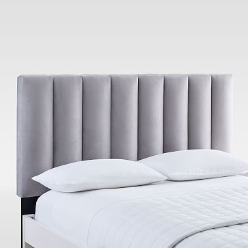 Channel Tufted Headboard, King, Chenille Tweed, Frost Gray