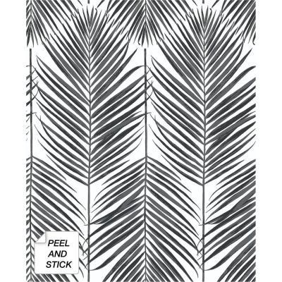 NextWall Black Sands Paradise Palm Peel and Stick Wallpaper 30.75 sq. ft.