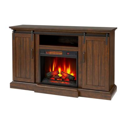 Home Decorators Collection Kerrington 60 in. Freestanding Media Console Electric Fireplace with Barn Door in Rustic Walnut