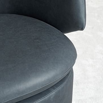 Crescent Leather Swivel Chair, Ludlow Leather, Navy