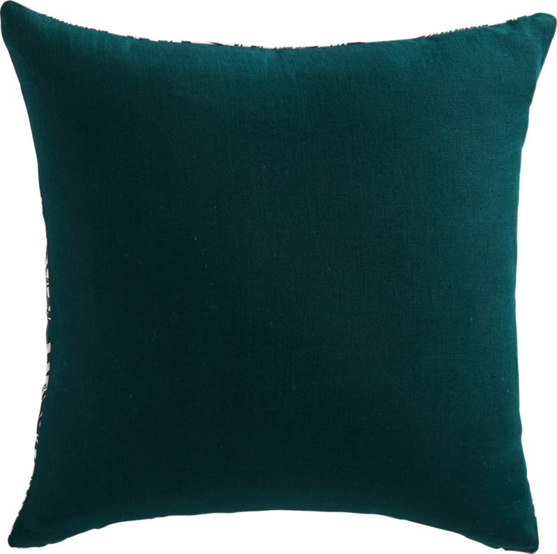 """18"""" Palm Linen Evergreen Pillow with Feather-Down Insert"""