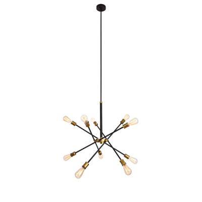 ELEGANT FURNITURE & LIGH Timeless Home Aria 27.2 in. W x 32.5 in. H 10-Light Black and Brass Pendant