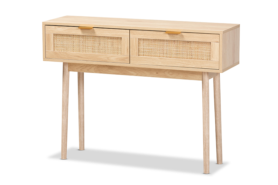 Baxton Studio Baird Mid-Century Modern Light Oak Brown Finished Wood and Rattan 2-Drawer Console Table