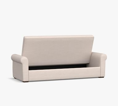 Shasta Roll Arm Upholstered Futon Sleeper With Storage, Polyester Wrapped Cushions, Chenille Basketweave Taupe