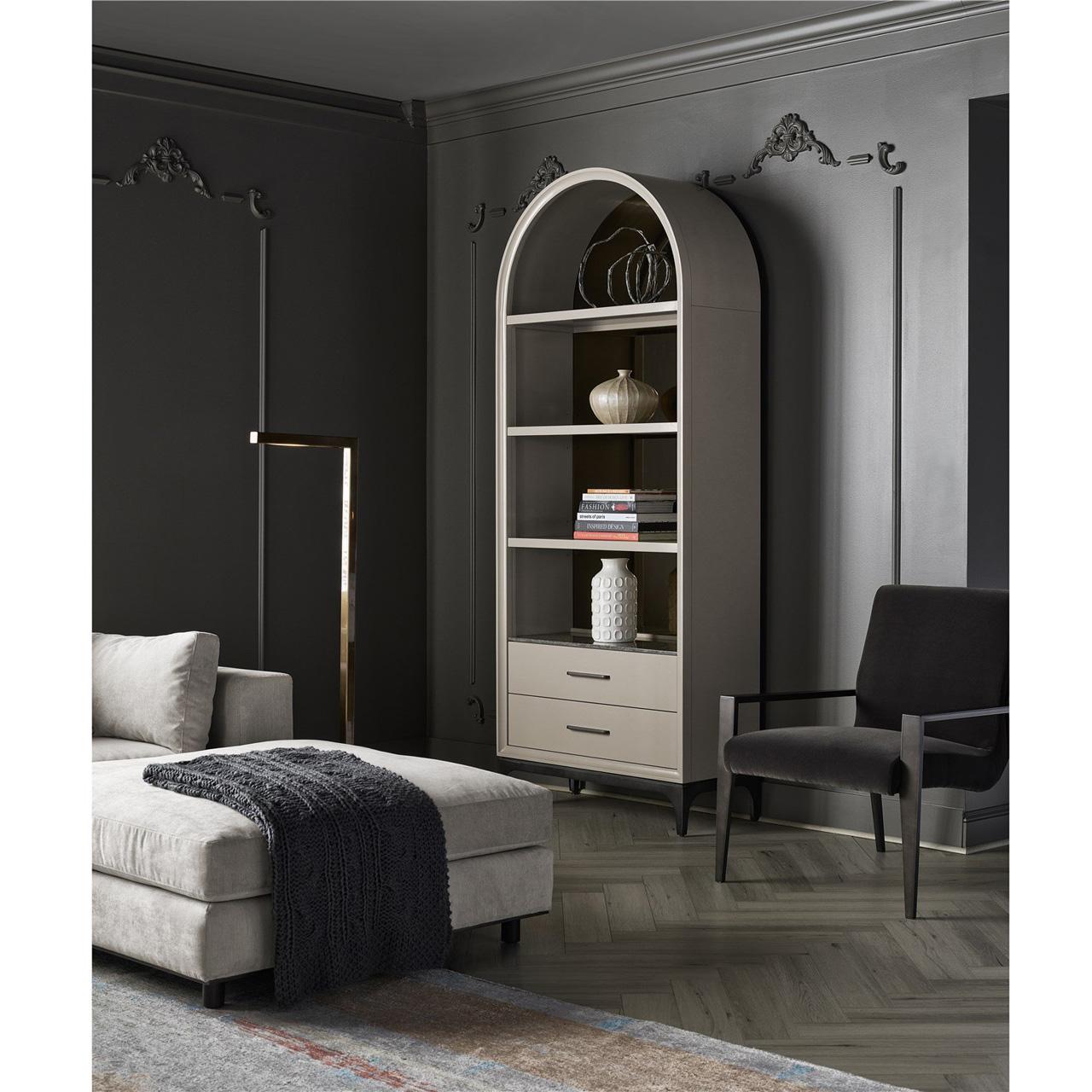 Amira Modern Classic White Wood Bronze Mirror Arch Display Bookshelf