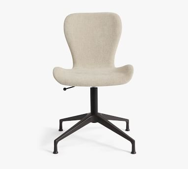 Burke Upholstered Swivel Desk Chair, Bronze Base, Performance Heathered Tweed Pebble