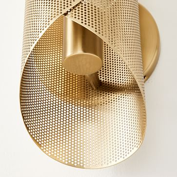 Curl Perforated Sconce, Antique Brass
