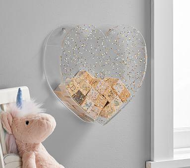 Acrylic Wall Pockets, Glitter Heart
