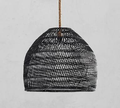 Flora All-Weather Wicker Indoor/Outdoor Pendant, Black