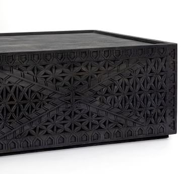 Java Carved Reclaimed Wood Coffee Table, Dark Charcoal