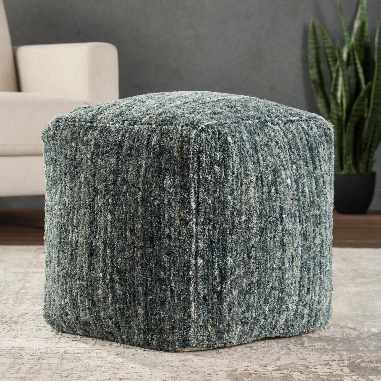 Sherwood Solid Light Blue/ Gray Cube Pouf