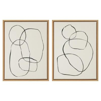 """Kate and Laurel Sylvie """"Modern Circles"""" by Teju Reval of Snazzyhues Framed Canvas Wall Art Set, Natural"""