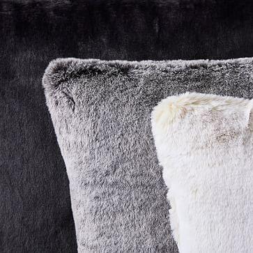 """Faux Fur Chinchilla Pillow Cover, 20""""x20"""", Stone White"""