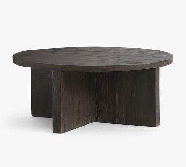 "Rocklin Round Reclaimed Wood Coffee Table, Rustic Black, 42""L"