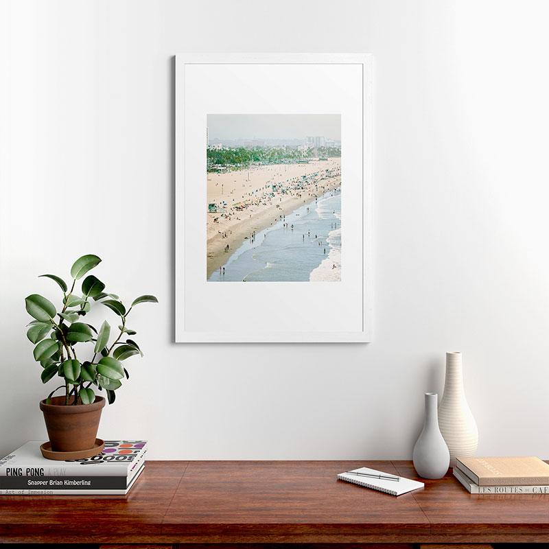 "Santa Monica Beach by Bree Madden, Classic Framed Art Print, White, 24"" x 36"""