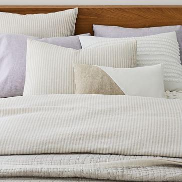 European Flax Linen Classic Stripe Duvet, King Duvet & King Shams, Natural Flax