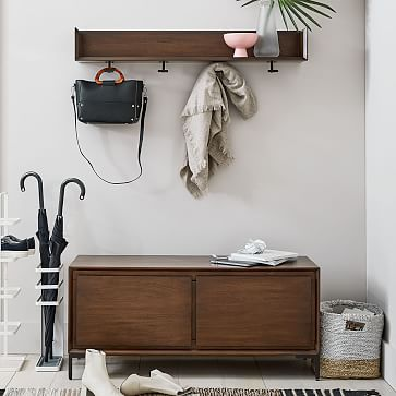 Nolan Shelf With Hooks, White + Light Bronze