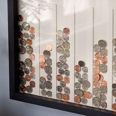 Disc Drop Wall Piggy Bank, Gray