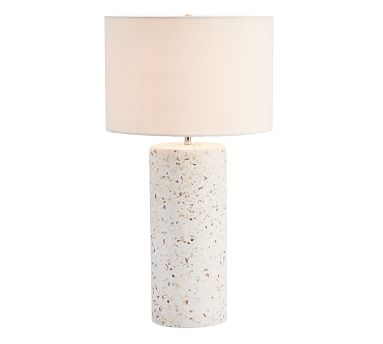 Capri Terrazzo Column Table Lamp with Large Straight Sided Gallery Shade, White