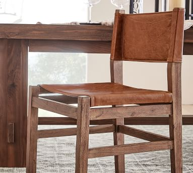 Segura Leather Dining Side Chair, Coffee Bean Frame, Statesville Indigo Blue