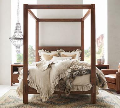 Menlo Reclaimed Teak Canopy Bed, Queen, Camden