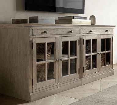 """Livingston 70"""" Media Console With File Cabinets, Montauk White"""