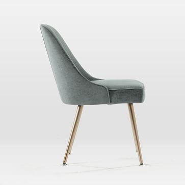 Mid-Century Upholstered Dining Chair, Performance Velvet, Lagoon, Set of 2