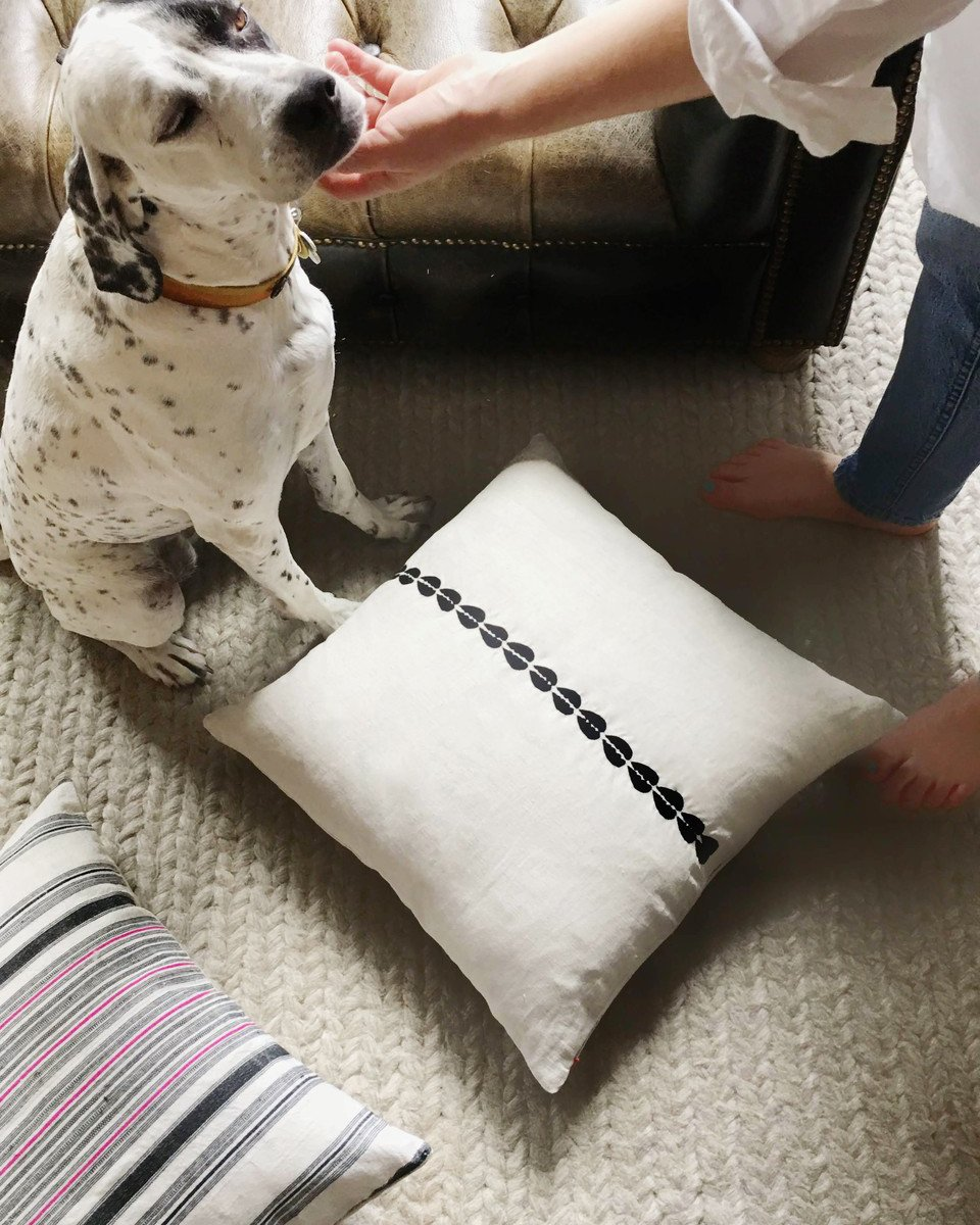 cowrie embroidered pillow in natural with insert