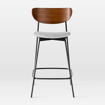 Modern Petal Upholstered Counter Stool, Basket Slub Platinum, Dark Walnut & Antique Bronze