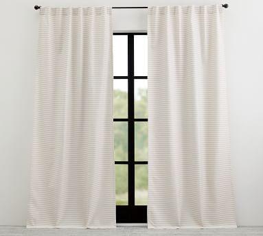 "Sunbrella(R) Bungalow Striped Outdoor Curtain, 50 x 124"", Flax Stripe"