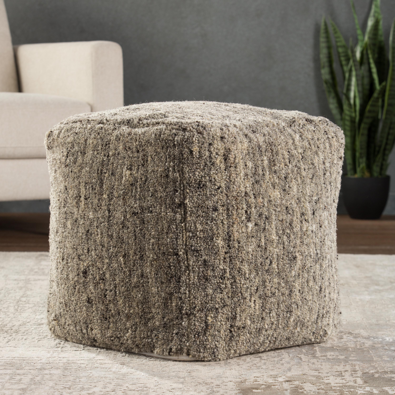 Sherwood Solid Gray/ Beige Cube Pouf