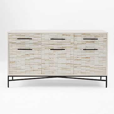 Tiled Buffet/Media Console, White + White Wash
