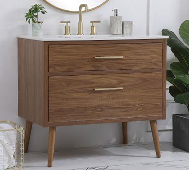 """Walnut Brown Rhine Single Sink Vanity, 36"""""""