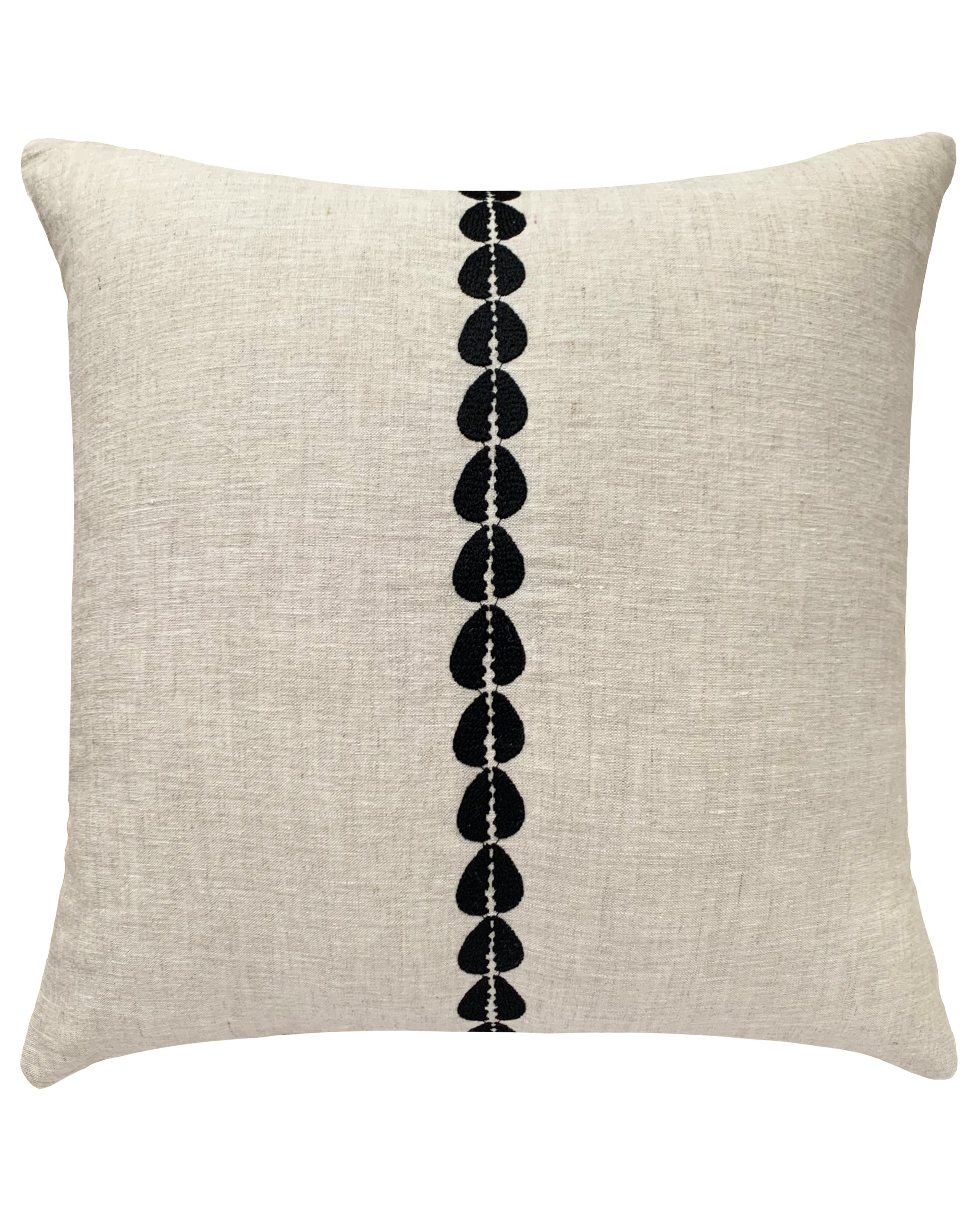 cowrie embroidered pillow in natural - cover only