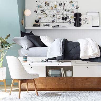 west elm x pbt Modern Captain's Bed, Full, White/Pecan
