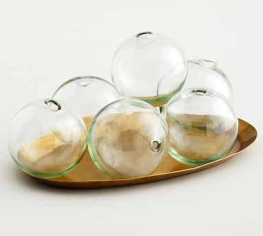 Recycled Glass Balls, Clear - Set of 3