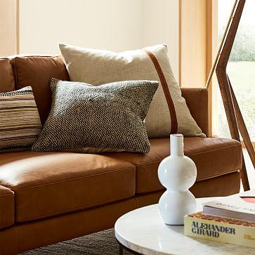"Silk Mono Stripe Pillow Cover, 24""x24"", Dark Horseradish"