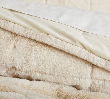 Ivory Alpine Faux Fur Quilt, King/Cal. King