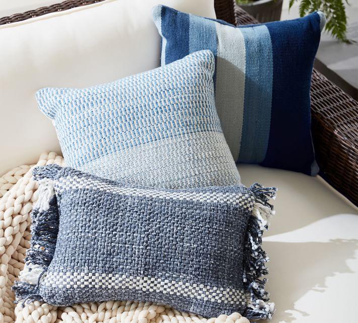 """Baker Textured Indoor/Outdoor Pillow, 20"""" x 20"""", Blue Multi"""