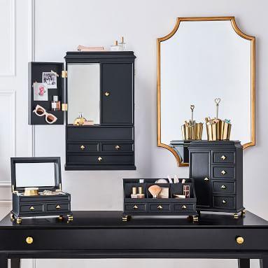 Emily & Meritt Regency Makeup Organizer, Asphalt/Brass