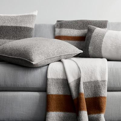 "Italian Boiled Wool Stripe Throw, 50"" x 70"", Bronze"