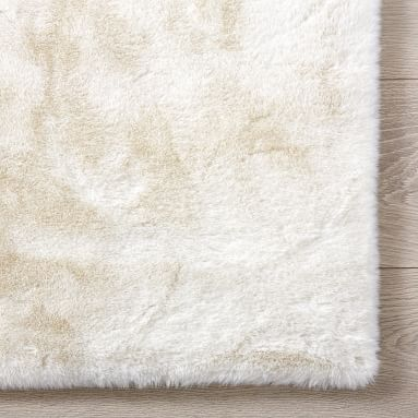 Washable Faux-Bunny Recycled Fur Rug, 5X8, Ivory