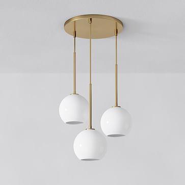 "Sculptural 3-Light Chandelier, Globe Mini, Milk, Antique Brass- 6"" shade"