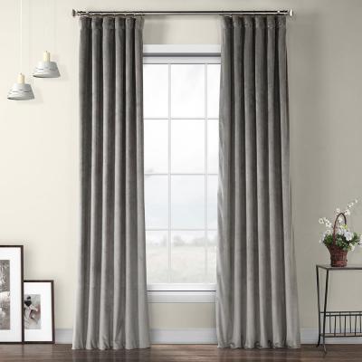 Exclusive Fabrics & Furnishings Destiny Gray Plush Velvet Polyester Room Darkening Curtain - 50 in. W x 120 in. L