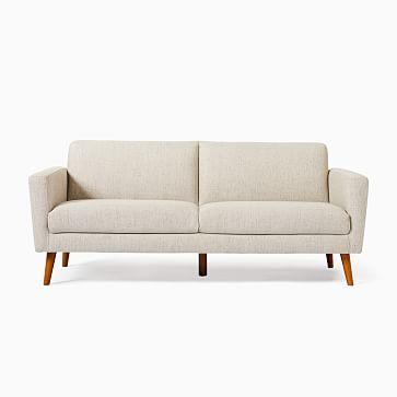Oliver 2 Seater Sofa, Poly, Twill, Dove, Light Walnut