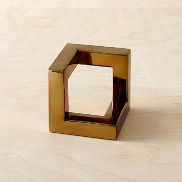 Cast Metal Cube Object, Large-Individual
