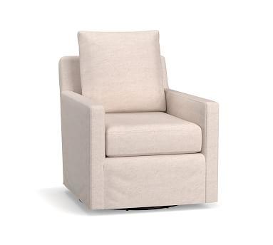 Ayden Slipcovered Swivel Glider, Polyester Wrapped Cushions, Basketweave Slub Ash